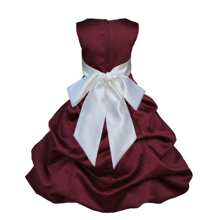 Ekidsbridal Burgundy Satin Bubble Pickup Christmas Party Bridesmaid Recital Easter Holiday Wedding Pageant Communion Princess Birthday Clothing Baptism 806 Flower Girl Dress](Christmas Themed Dresses)