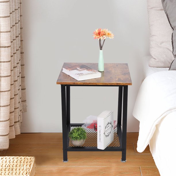 Otviap Tea Table Coffee Table Wrought Iron Side Table Coffee End Table With Storage Shelf For Small Space Bedroom Living Room Walmart Com Walmart Com