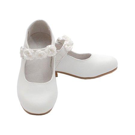 White Mary Jane Flower Accent Flat Dress Shoes Toddler Little Girl 7-4 (White Toddler Flats)