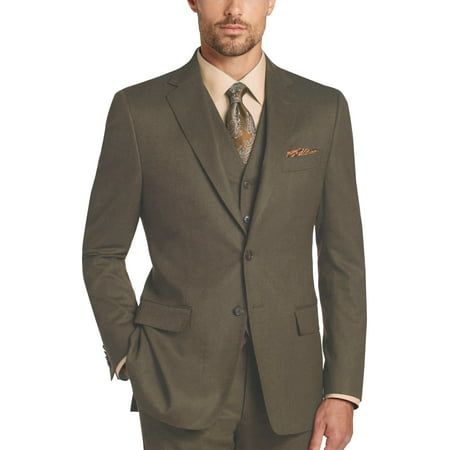 Mens Three Piece Two Button Modern Fit Italian Styled Single Breasted Suit Set | Black White Taupe Sapphire Eggplant Olive Navy