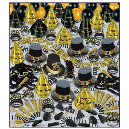 New Years Eve Party Supplies (Golden Bonanza New Year's Eve Kit (For 100)