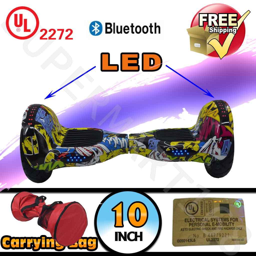 "Bag + Graffiti UL 2272 Certified 10"" Smart Self Balancing Electric Scooter Hoverboard Bluetooth LED (WHEELS-UC10-GRAFFITI)"