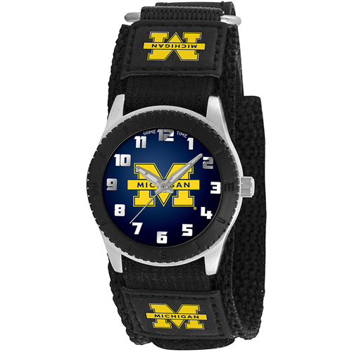 Game Time NCAA Kids' University of Michigan Wolverines Rookie Series Watch, Black Velcro Strap