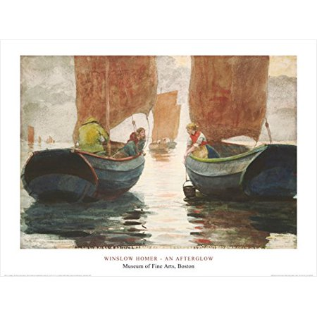 An Afterglow 1883 By Winslow Homer 24X32 Art Print Poster Famous Painting Coastal Ocean Sailboats Figurative