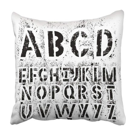 WOPOP Spray Black Grunge Alphabet For Your Design Letters White Paint Stencil Graffiti Sign Pillowcase 18x18