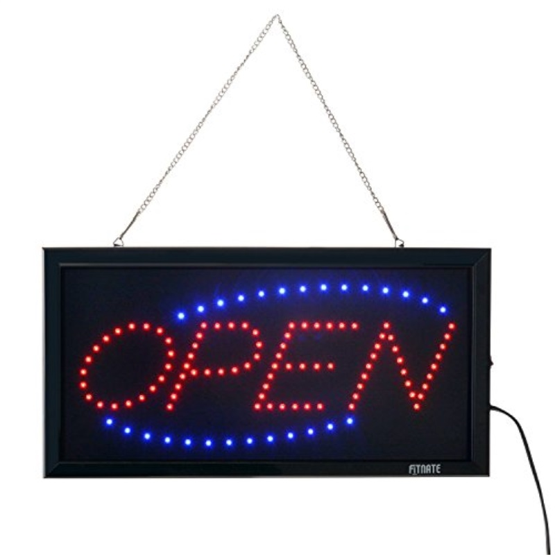 OPEN Sign, Fitnate LED Neon Business OPEN Sign Advertisement Board Electric Display Sign, Two Modes Flashing & Steady Light for Business, Walls, Window, Shop, Bar, Hotel