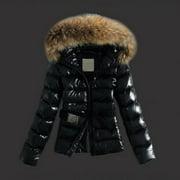 Women Warm Faux Fur Fleece Zipper Open Front Lapel Long Sleeve Wool Collar Thick Top Parka Casual Winter Cardigan Fashion Outwear Coat Jacket
