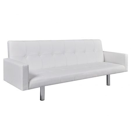Marvelous Vidaxl Artificial Leather Sofa Bed With Armrests White Ocoug Best Dining Table And Chair Ideas Images Ocougorg