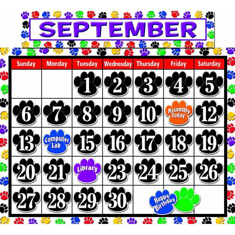 Teacher Created Resources Colorful Paw Prints Calendar Bulletin Board Display Set, Set of 68