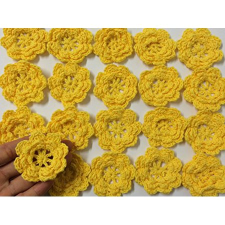Rainbow Collection Eight Petals 2 Inch Crocheted Flower Appliques Embellishments - #10 Yellow Gold