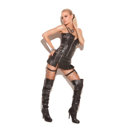 Elegant Moments Leather Zip Front Corset with Buckle Detail, Boning & Adjustable and Detachable
