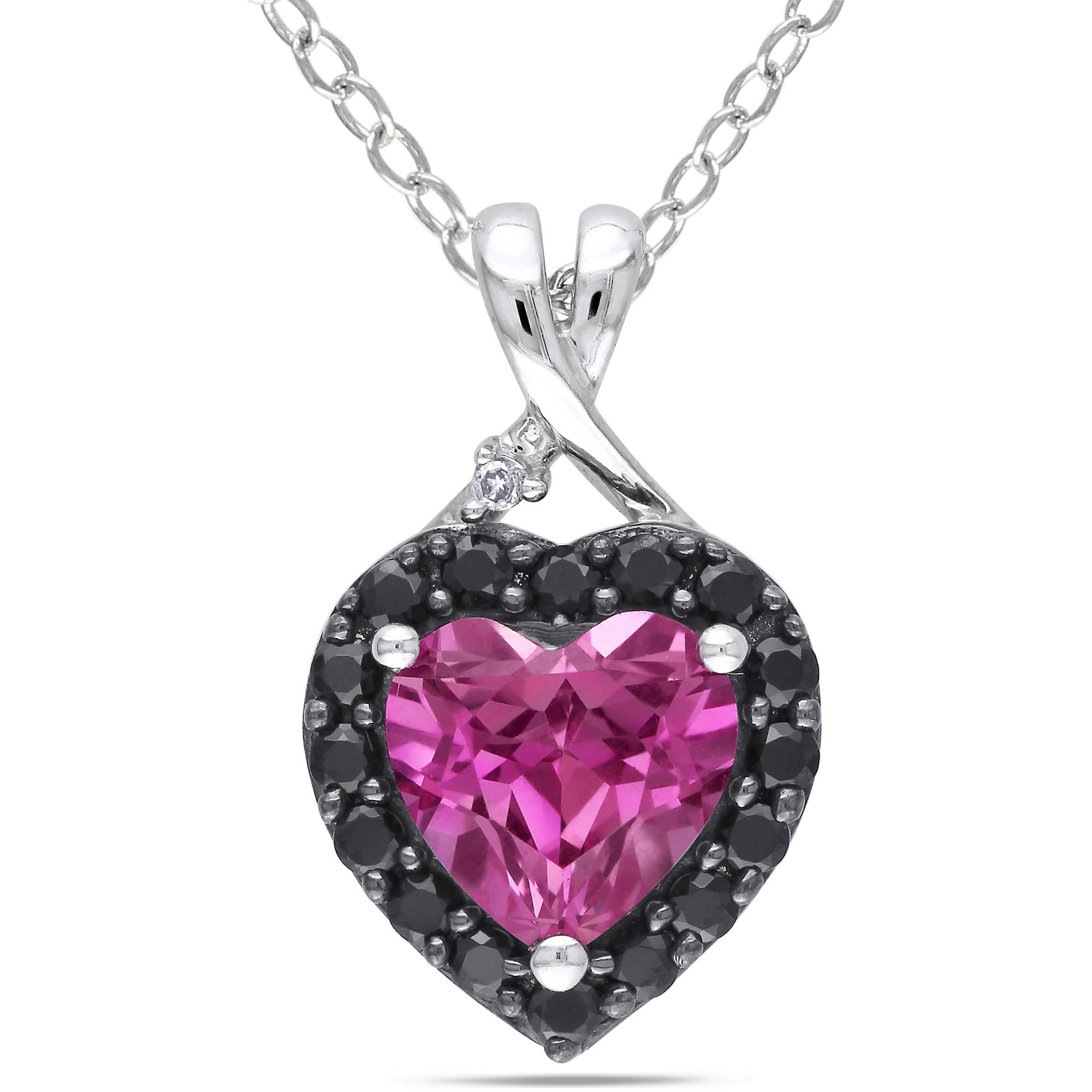 1-7/8 Carat T.G.W. Created Pink Sapphire and Black Spinel with Diamond Accent Sterling Silver Heart Pendant, 18