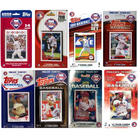 Phillies Baseball Team (C&I Collectables MLB Philadelphia Phillies 8 Different Licensed Trading Card Team Sets )