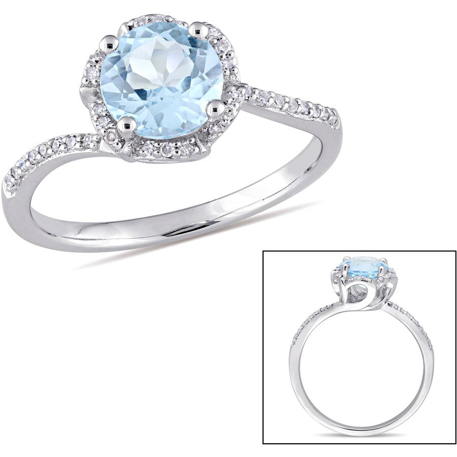 Tangelo 1-3 5 Carat T.G.W. Sky Blue Topaz and 1 10 Carat T.W. Diamond 14kt White Gold Halo Ring by Tangelo
