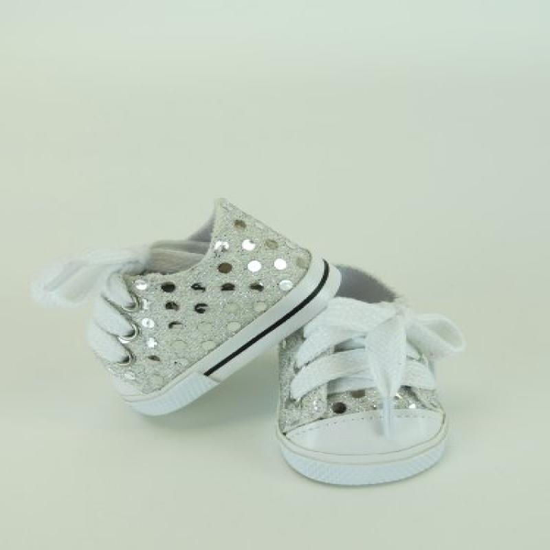 "18 Inch Silver Sequin Sneaker Tennis Shoe. Doll Clothing  Fits 18"" American Girl... by"