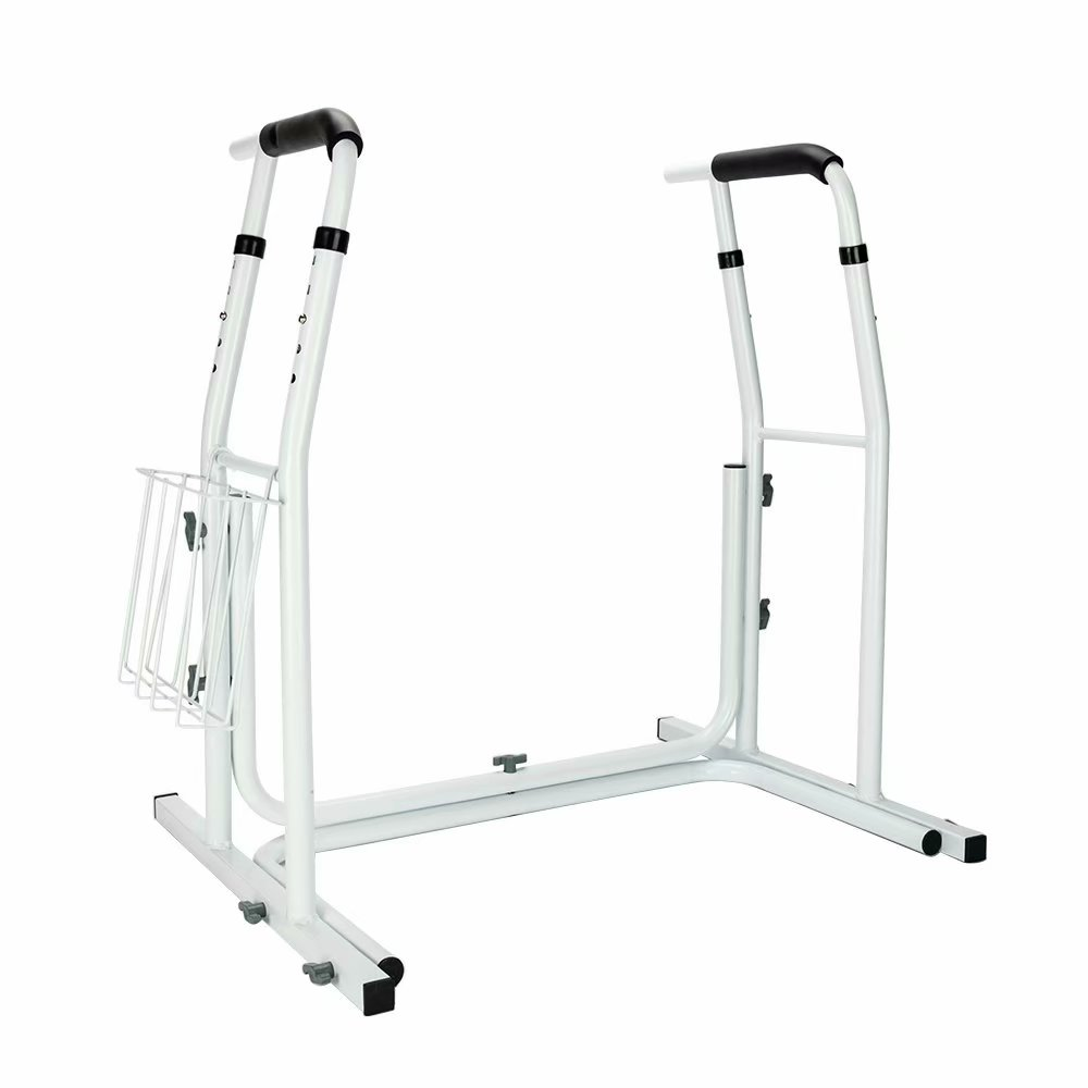 BTIF Stand Alone Toilet Safety Grab Rail with Magazine Rack White