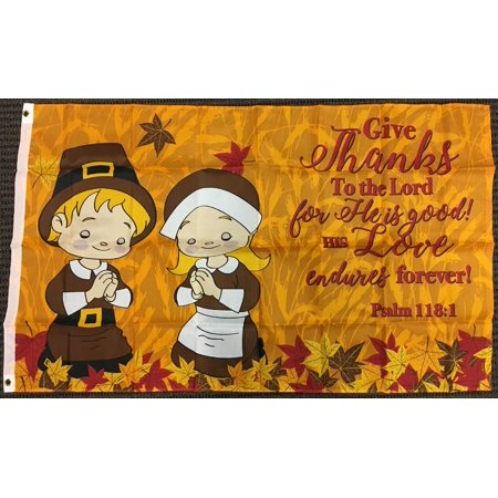 3x5 Give Thanks Thanksgiving Prayer Psalm 118:1 Flag Pilgrims Outdoor Banner New - Thanksgiving Outdoor Decor