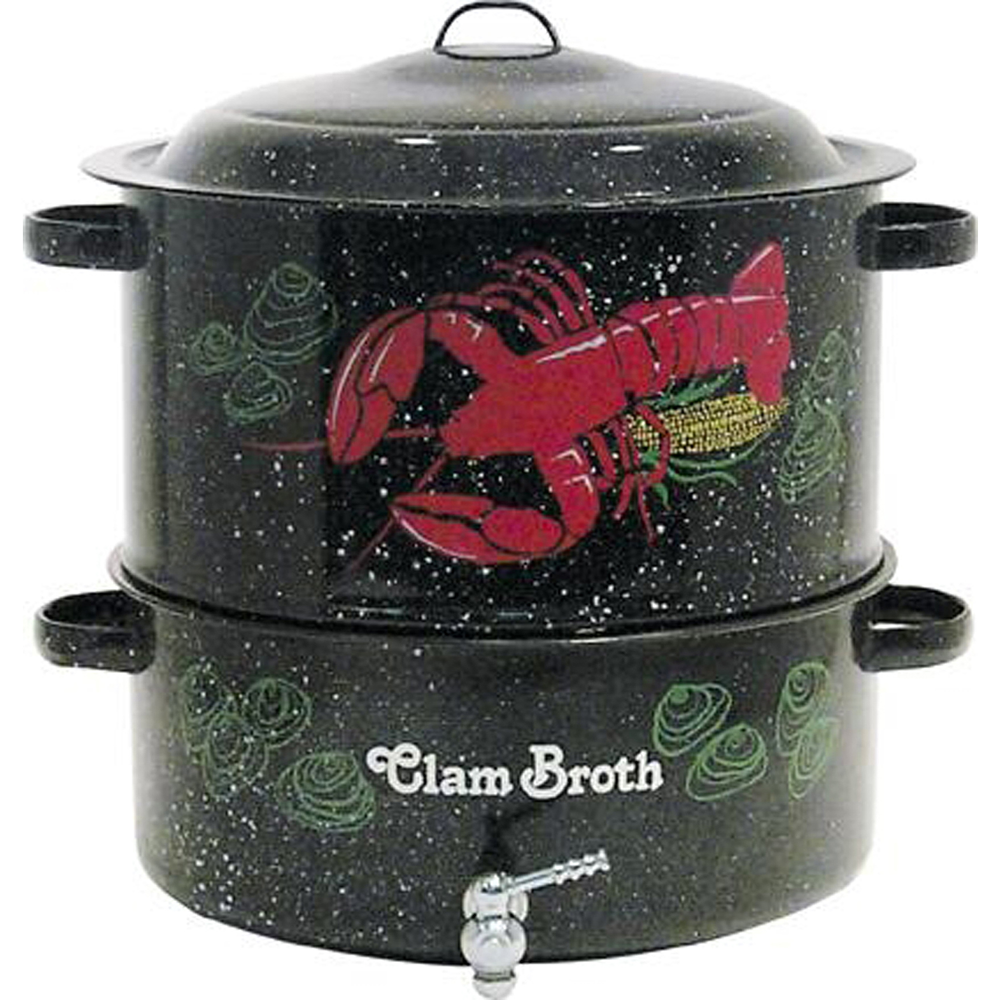 Granite Ware 3-Piece 19-Quart Decorated Clam and Lobster Pot with Faucet, Black