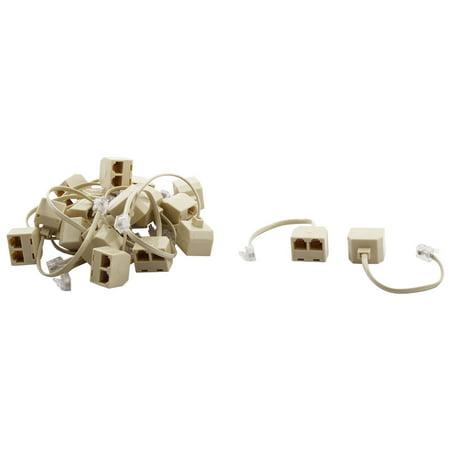 Keystone Phone - Telephone RJ11 6P4C Keystone 1 Male to 2 Female Cable Adapter 20pcs