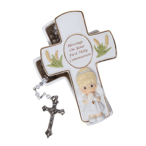 Precious Moments Blessings On Your First Holy Communion Covered Box with Rosary by Precious Moments