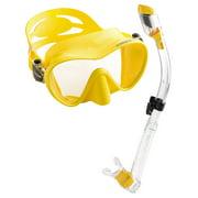 Cressi Scuba Diving Snorkeling Freediving Mask Snorkel Set, Yellow