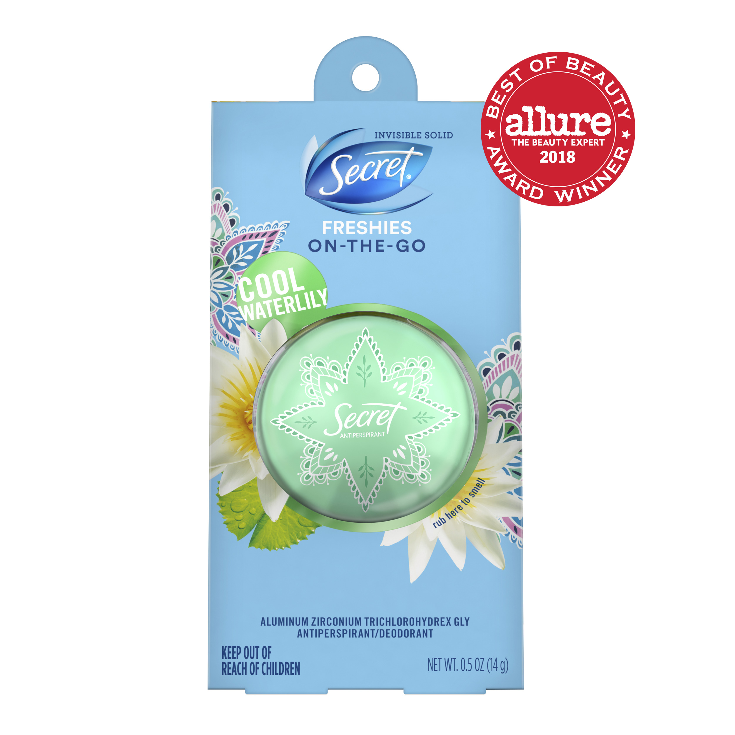 Secret Freshies Invisible Solid Antiperspirant and Deodorant Cool Waterlily Scent 0.5 Oz.