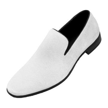 Bolano Mens Paisley and Embossed Velvet Dress Shoes, Comfortable and Easy Slip-On Design Available in White, Red, Black, Lemon/ (Best Comfortable Dress Shoes)