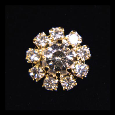 Rosette Rhinestone (#14063G Small Rhinestone Rosette Button - Gold Plated)