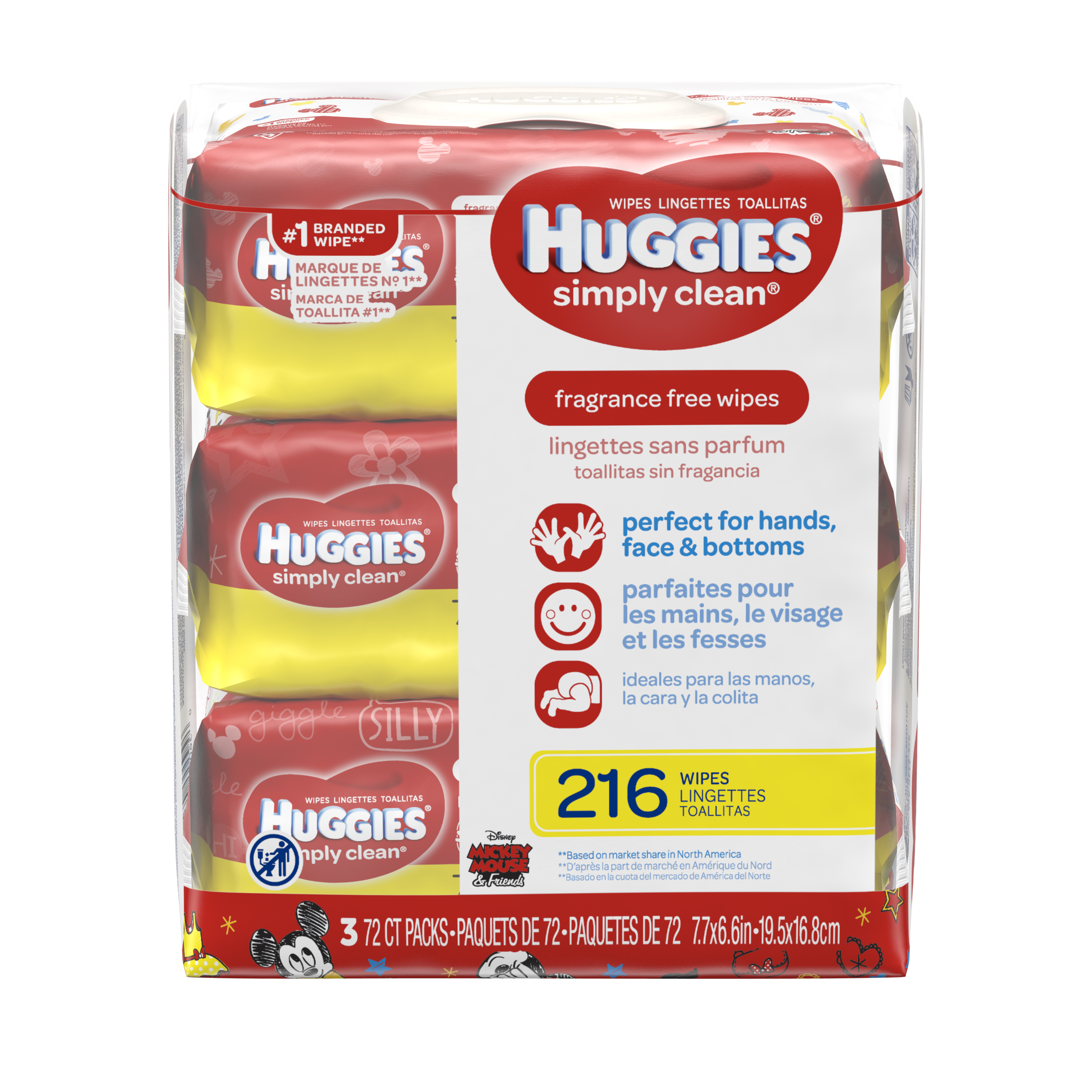 Huggies Simply Clean Baby Wipes, Fragrance Free, 3 packs of 72 (216 count)