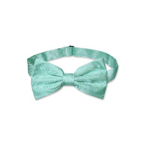Vesuvio Napoli BOWTIE Aqua Green Color Paisley Men's Bow Tie for Tuxedo or Suit - Lighted Bow Tie