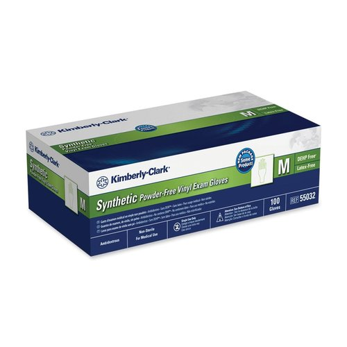 SSPF026032 Kimberly-Clark Synthetic Powder-Free Exam Gloves - Medium Size - Latex-free, Powder-free - Synthetic, Vinyl - 100 / Box - Clear