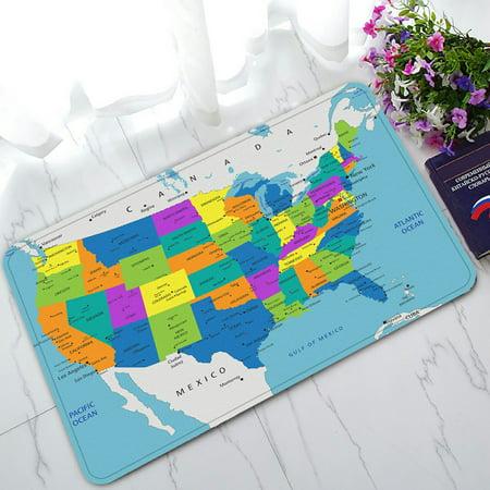PHFZK Educational Doormat, Colorful United States of America Political Map Doormat Outdoors/Indoor Doormat Home Floor Mats Rugs Size 30x18