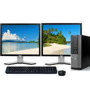 "Dell Dual Monitor Computer Bundle Intel 3.1GHz Processor 8GB 1TB Hard Drive DVDRW Wifi Windows 10 Professional with 2 x 19"" LCD's -Refurbished"