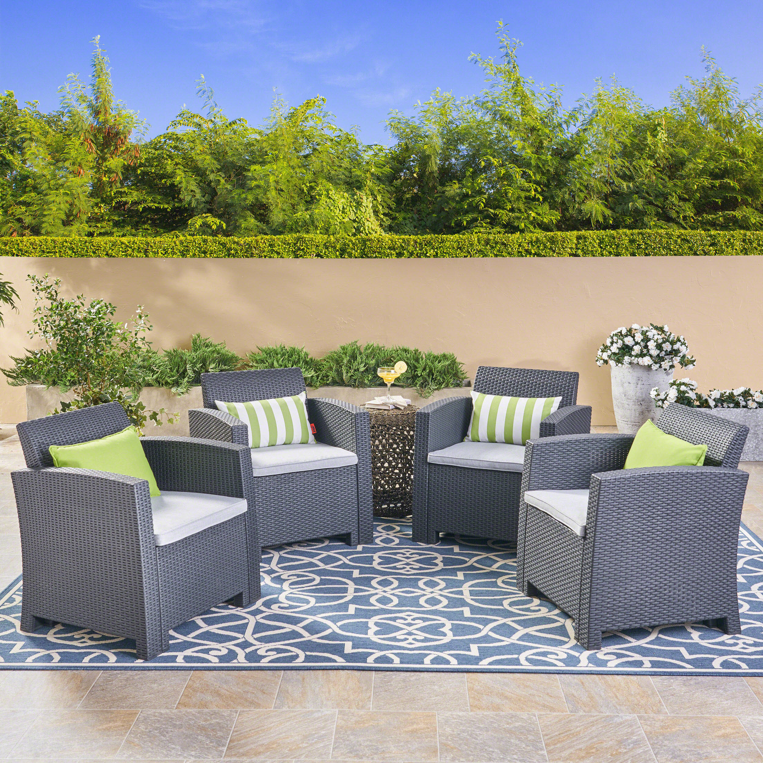 Noble House Sorianno Outdoor Charcoal Wicker Print Club Chairs With Cushions Grey Walmart Com Walmart Com
