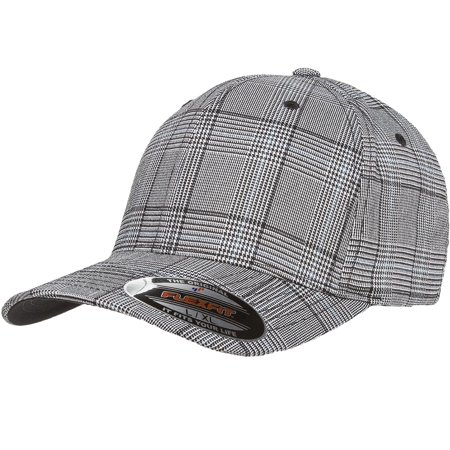 The Hat Pros Fitted Hat Glen Check Patterned Fabric Flexfit Cap 6196 Small/Medium  ? Black/White - The Hat Pros