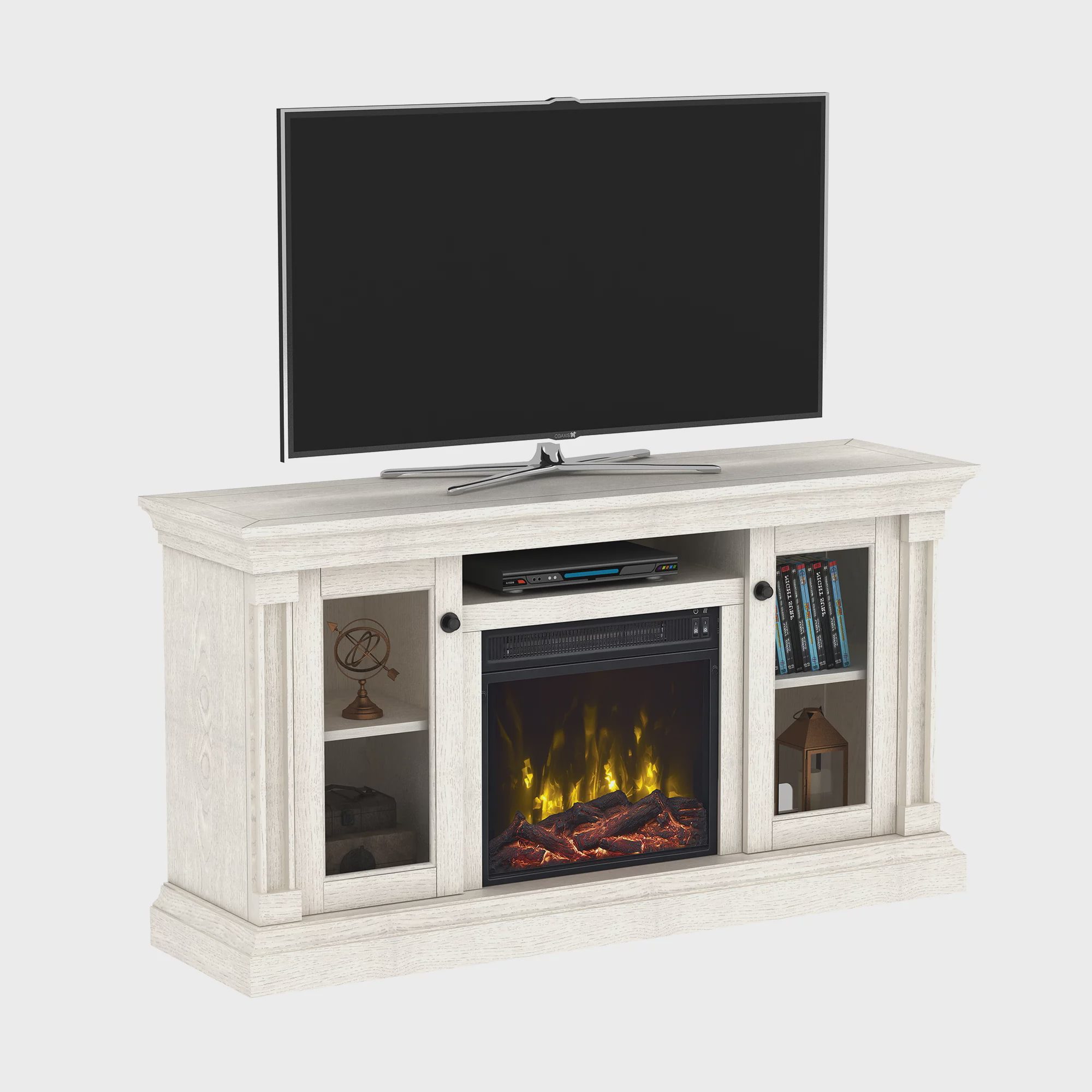 Brayer White Oak Tv Stand For Tvs Up To 60 With Electric Fireplace