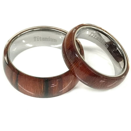 Gifts With Thought - For Him & Her 8mm/6mm Pure Hawaiian Koa Cherry Wood Inlay Titanium Wedding Band Ring Set - Walmart.com