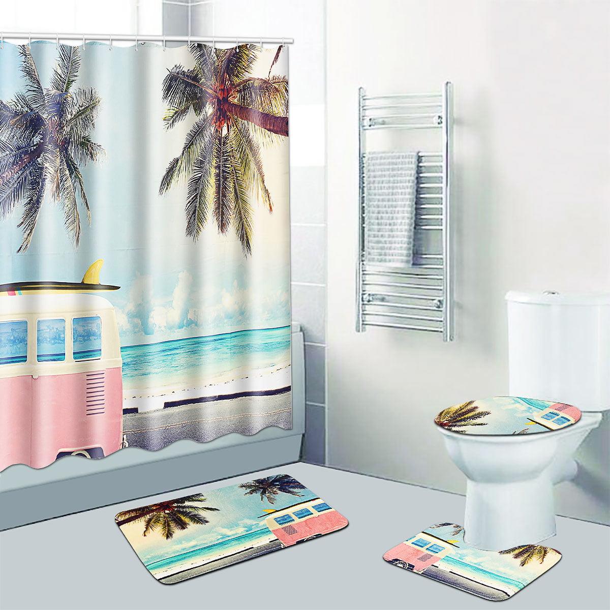 Beach Ocean Shower Curtain Set Non-slip Bath Mat Pedestal Toilet Cover Lid Rug