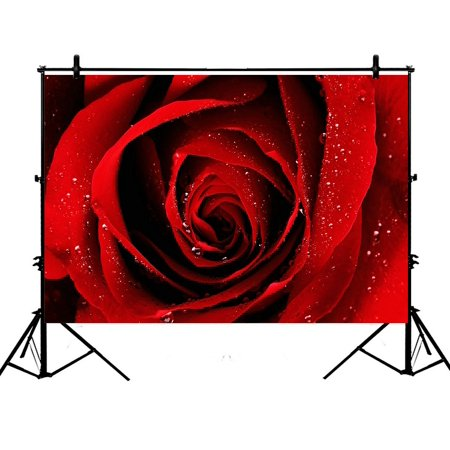 ZKGK 7x5ft Red Rose With Raindrop Flower Floral Pattern Polyester Photography Backdrop For Studio Prop Photo Background