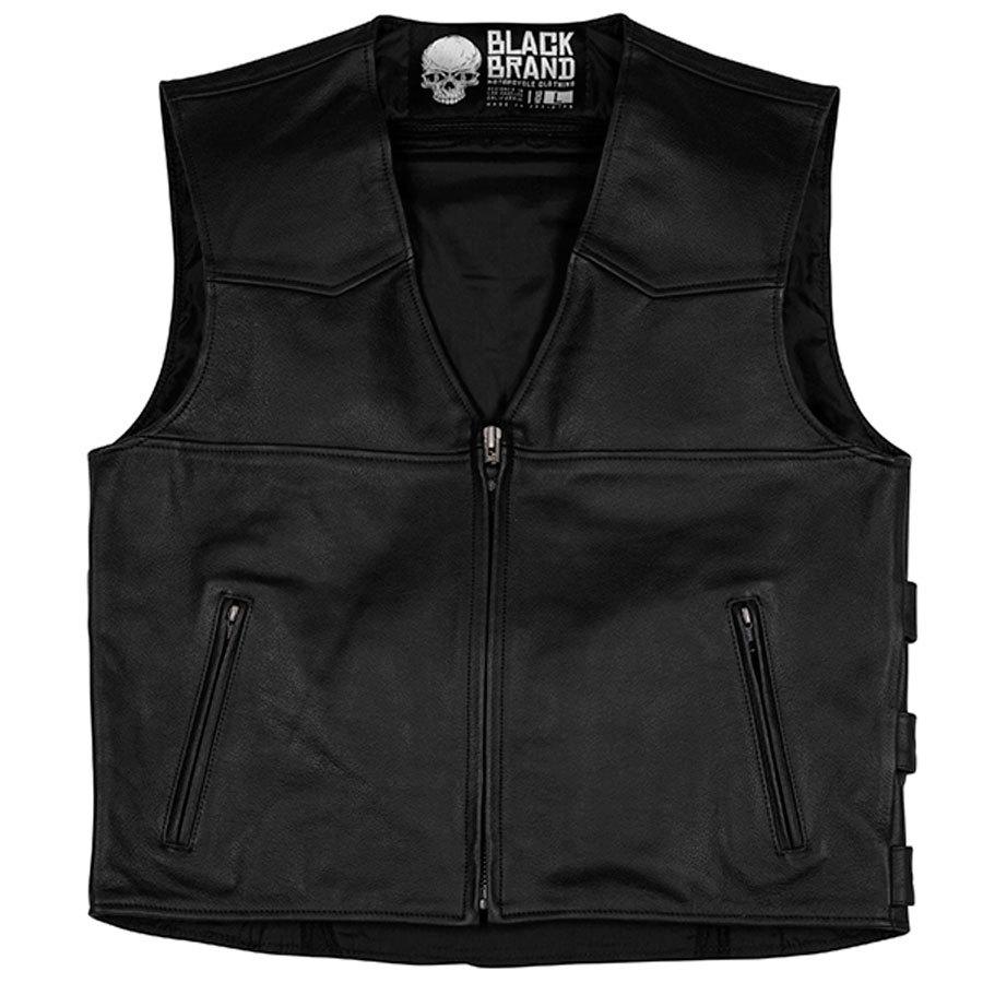 Black Brand Guardian Mens Leather Vest Black