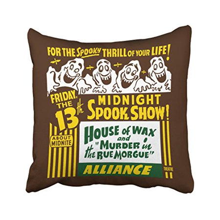WinHome Vintage Popular Happy Halloween Spook Show Poster Art Ghost Funny Polyester 18 x 18 Inch Square Throw Pillow Covers With Hidden Zipper Home Sofa Cushion Decorative Pillowcases