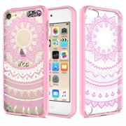 iPod Touch 6/ iPod Touch 5 Case, RANZ Pink Mandala Sun Lace Totem Design Hybrid Soft TPU Side and Clear Hard Acrylic Back Protective Cover Case for Apple iPod Touch 6/ iPod Touch 5 …