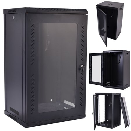 15U Wall Mount Network Server Data Cabinet Glass Door w/ Fan