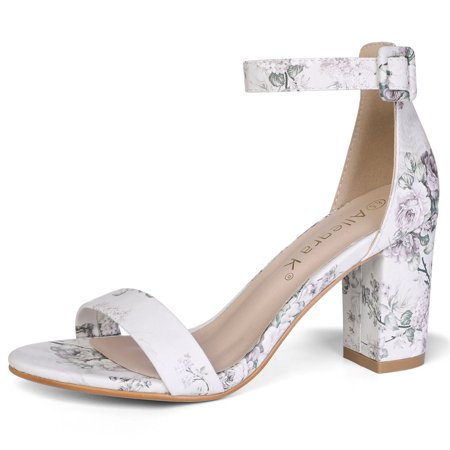 d769a04bd4f Unique Bargains Women s Open Toe Chunky Heel Printed Ankle Strap Sandals -  Walmart.com