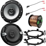 """2 x DR Series 6.5"""" 2-Way Coaxial 300W Max Power 4 Ohm Car Audio Speakers with 2 x Enrock Mounting Ring Adaptors, 2 x Speaker Harness, Speaker Wire (Bundle Fits Select GM Vehicles)"""