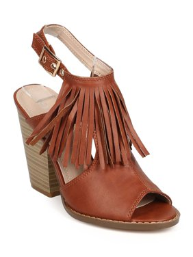 New Women Nature Breeze Webber-01 Leatherette Peep Toe Block Heel Slingback Mule
