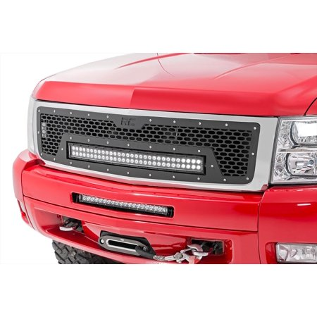 07 Chevrolet Silverado 1500 Light - Rough Country - 70196 - Laser-Cut Mesh Grille w/ 30-inch Black Series Dual Row CREE LED Light Bar (Chevrolet Silverado 1500) for Chevrolet: 07-13 Silverado 1500 4WD/2WD