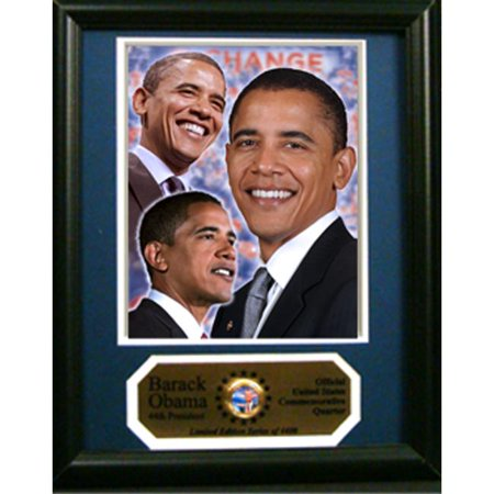 Encore Select 189-ObamaQTR-A Barack Obama Photograph with Commemorative Photograph Mint Quarter in an 12 in. x 18 in. Deluxe Photograph Frame