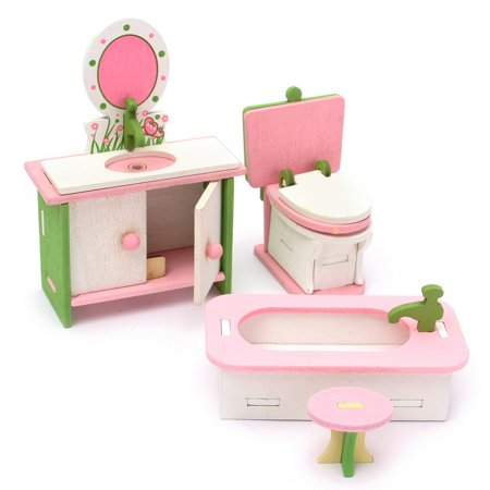 - Doll Dollhouse Furniture Set Wooden Dolls House Miniature Accessory Room Furniture Set Kids Pretend Play Toys Kitchen/Guest room/Bathroom/Bedroom