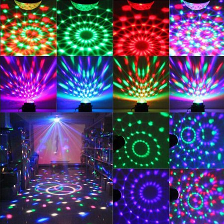 ZeAofa RGB LED Party DJ Disco Dance Strobe Light Ball Sound Activated Stage Lamp Xmas - Party Strobe Lights
